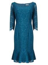 Jacques Vert Lace Flute Hem Dress Blue Size UK 20 Dh088 AA 21