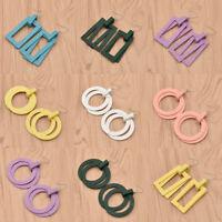 Women Wood Geometric Earrings Round Rectangular Pendant Drop Dangle Jewelry Cute