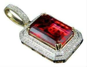 8.48 ct Emerald Cut Ruby & Sim Diamond Men's Pendant in 14k Yellow Gold Plated