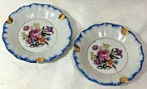 Ceramic Porcelain Floral Pattern Decorative Miniature Plates With Gold Trim