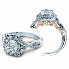 VERRAGIO INS-7084 18K WR Gold with Diamonds Double Halo Engagement Ring NEW