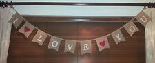 New Bunting I Love You Jute Bunting 220cms Long Garland Valentines Day