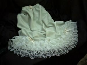 SISSY PALE GREEN GYPSY STYLE SLIP PETTICOAT DEEP TIERED LACE SATIN BOWS & ROSES