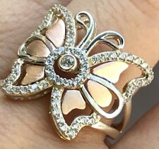 GOLD BuTtErFlY Ring 14k yellow Rose Simulated Diamond 7 4 5 6 8 9 10 3.7g