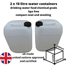 More details for 2 x 10 litre water container food grade stacking compact strong bpa free new