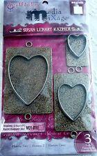 Spellbinders Media Mixage Craft Embellishments HEARTS TWO Item #MB2-006