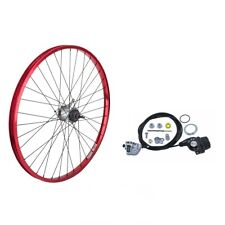 """RED BICYCLE REAR WHEEL 26"""" SHIMANO INTERNAL 3-SPEED CABLE SHIFTER SILVER SPOKES"""