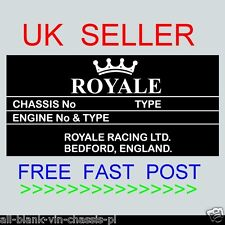 ROYALE RACING KIT CAR ID TAG REPLACEMENT REPLICA ALL-BLANK-VIN-CHASSIS-PLATES