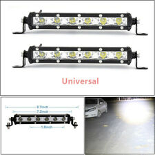 2X Aluminum Alloy Single Row LED Spot Work Light Bar Off-Road 6000K Xenon White