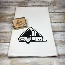 A-frame Pop Up Camper Flour Sack Dish Towel and Magnet