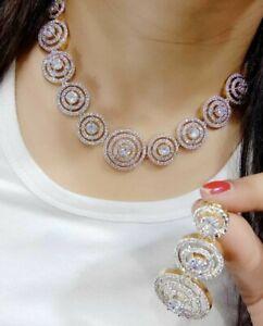 Designers Indian Ethnic American Diamond Round Necklace Earning Gold Tone Stone