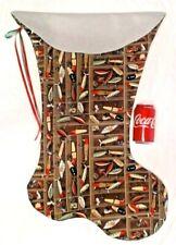 Giant Christmas Stocking Fishing Lures On Brown Print, Handmade & New