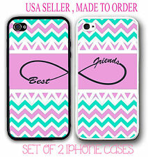 Custom Pink Mint Chevron BFF Best Friends Case - 2 Cases For iPhone 6 6S 4 5S 5C