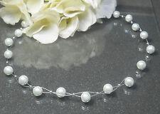 super  zarte  Perlen Kette Collier weiß  TOP handgefertigt Perlen 6mm