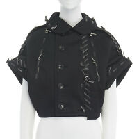 runway COMME DES GARCONS AW05 black neoprene overstiched punk rounded jacket S