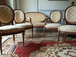 Antique French 19th Century Sofa Set Suite, Louis XVI Style