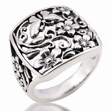 Charms Butterfly Flower Ring 925 Sterling Silver Size.US=10 UK=T