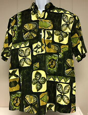 VINTAGE MENS MALIHINI POLO AZTEC FLORAL HAWAIIAN SHIRT 1960s LARGE TIKI ALOHA