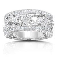 Kobelli 14K White Gold Vintage Style Diamond Band 1/4 cttw Size 8.5