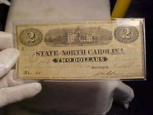 Authenic State of North Carolina [Confederate] Two Dollars, dated Jan 1st, 1863