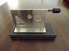 Stainless Steel Table Top 54 Ring Gauge Desktop Cigar Cutter Black Leather Base