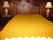 NEW Handcrafted CROCHET Bedspread Throw Blanket Afghan IN Solid Gold Color