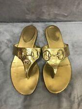 GUCCI Gold monogrammed Horsbit Thong Flip Flop Flat Sandals Size 7
