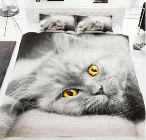 DOUBLE Grey Cat 3D Duvet Cover With Pillow Case Bedding Set