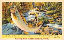 Staffordville Connecticut Fisherman Fish Catch Greeting Antique Postcard K56754