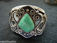 VINTAGE  FOX TURQUOISE  BRACELET    MARKED F FOR FANNIE PLATERO TESTED STERLING