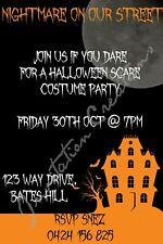 Diy Print Custom Halloween Scary Birthday Party Invitations