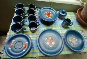 Kaffeeservice fuer 8 Personen blau floral Keramik