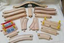 Lot of 24 Wooden Train Tracks & Bridge straight & curved tracks