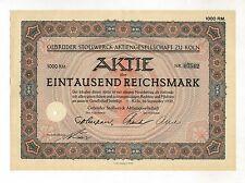Gebr. STOLLWERCK  AG – Aktie über 1000 RM, ausgegeben in KÖLN, im Sept. 1932