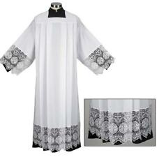 Liturgical Church Garment Polyester and IHS Lace Box Pleated Alb, Extra Large