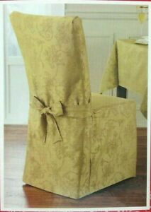 """Spring Splendor Damask Fabric 42"""" x 21"""" Armless Dining Room Chair Cover in Gold"""