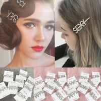 Women Girls Crystal Rhinestone Words Hairpin Hair Barrette Clip Hair Accessories