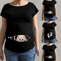 Women Maternity Short Sleeve Cartoon Print Tops T-shirt Pregnancy Blouse Clothes