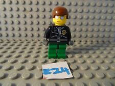 LEGO MINIFIGURE GREEN LEGS  BLACK TORSO& BROWN HAIR (E24)