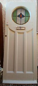 1930s ORIGINAL FRONT DOOR WOOD LEAD STAINED GLASS ART DECO PERIOD