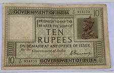 BRITISH INDIA 10 RUPEES P6A 1917 BRITISH KING GEORGE  RARE CURRENCY NOTE AS PIC