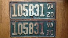 1920 Virginia License Plates Tags Pair VA
