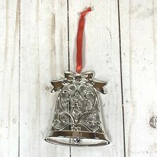 Lenox Silver Sparkle And Scroll Christmas Ornament NIB Bell Silver Plate