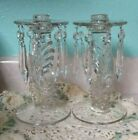 2+Vintage+set++Glass+Candelabra+Stick+With+8+plastic+Prisms+7%22+tall