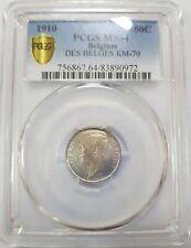 1910 BELGIUM 50 Centimes Albert I PCGS MS64 Silver [KM#70]