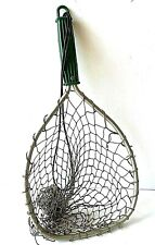 """Vintage Trout Landing Net Fly Fishing Aluminum Green Handled USA Antique 18"""""""