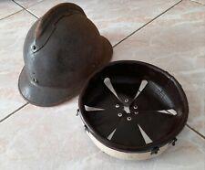 WW2 coiffe cuir marron foncé intérieur casque Adrian m.1926 helmet liner t.59
