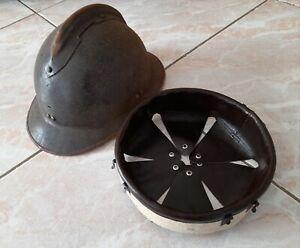 WW2 coiffe cuir marron foncé intérieur casque Adrian m.1926 helmet liner t.60