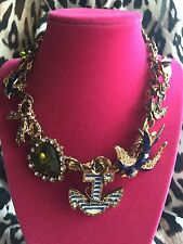 Betsey Johnson Vintage In The Navy Sparrow Anchor Heart Sailor Skull Necklace
