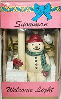 Vintage Snowman Christmas Decoration Shelf Sitter Candle Lamp Nightlight ++++